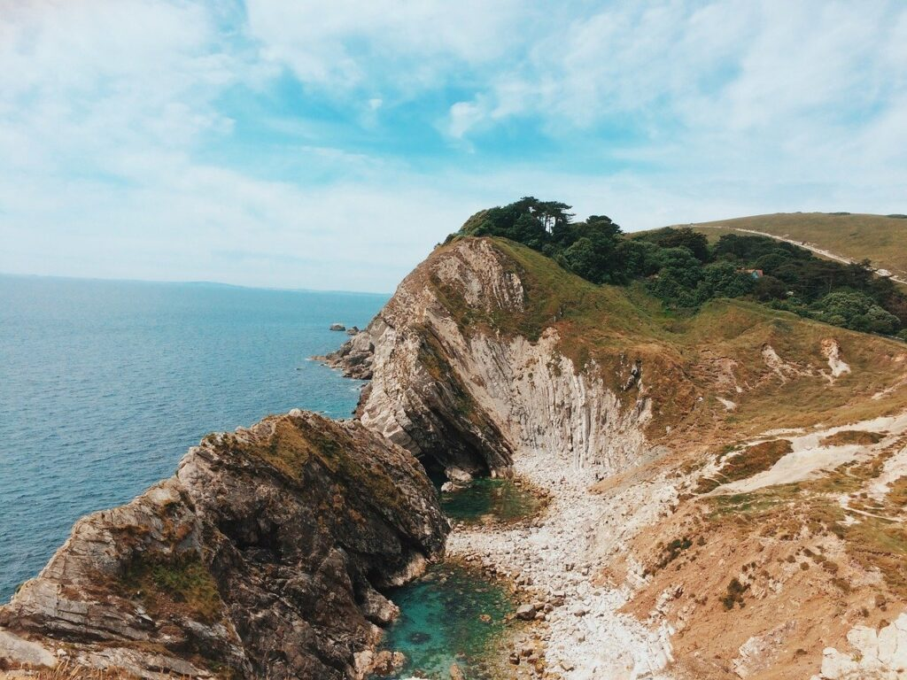 rock formations at Lulworth Cove