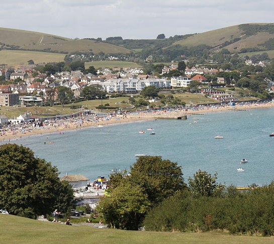 panoramic view of swanage bay and beach