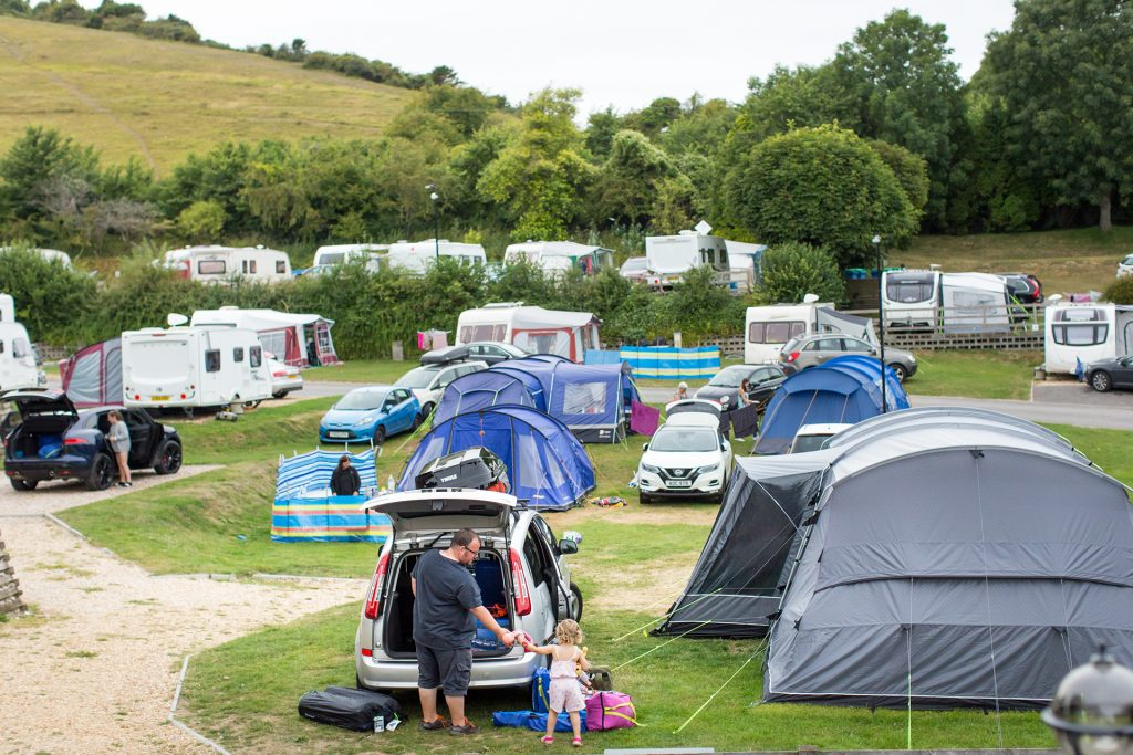 tents pitched at ulwell holiday park