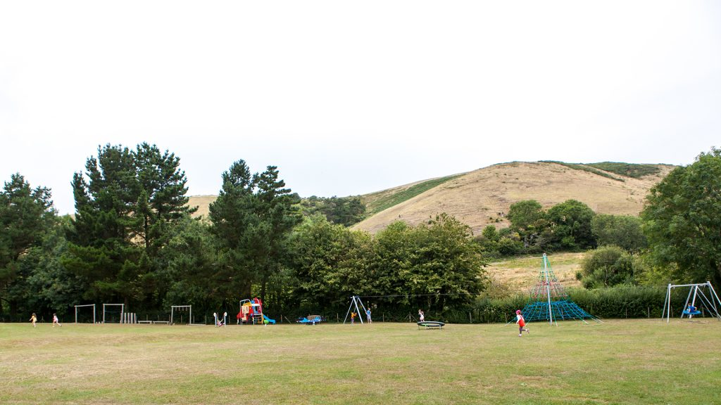 playing field and play park at ulwell holiday park