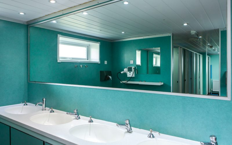 clean and modern toilet and wash facilities