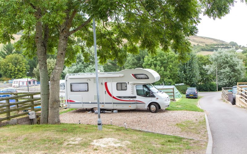 motorhome on ulwell cottage caravan park touring pitches
