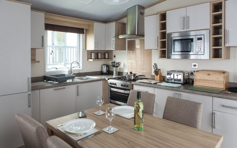 kitchen in holiday caravan for hire