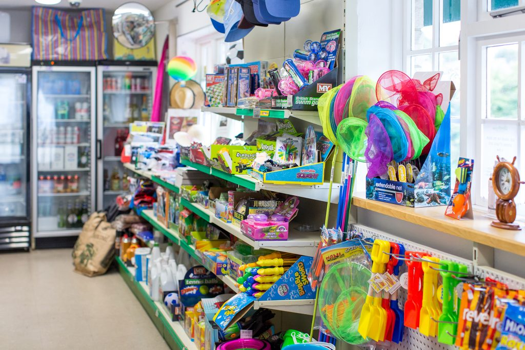 beach goods and camping equipment in the on site shop