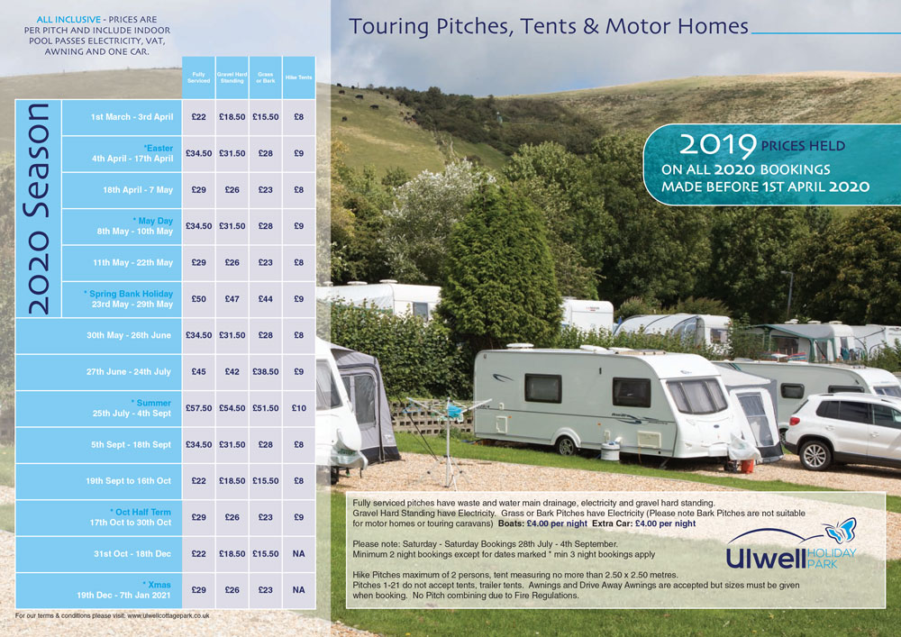 touring and camping price list 2020