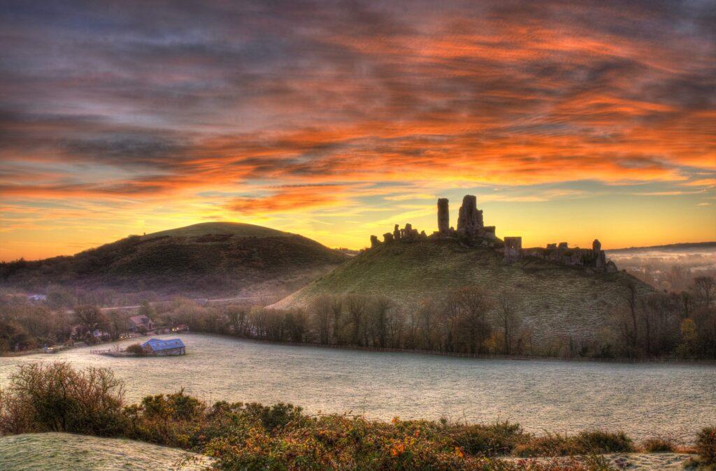 corfe castle in autumn frost