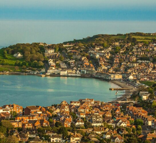 view over swanage town centre
