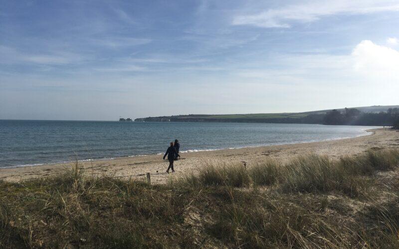 Walking at studland Beach