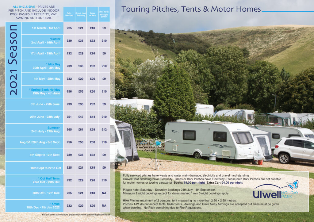 2021 touring and camping tariff