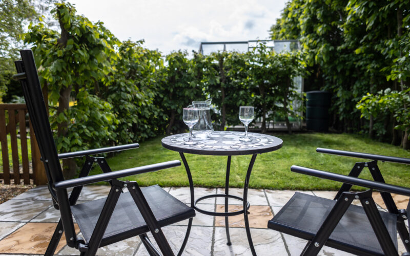 the studio patio and outdoor seating